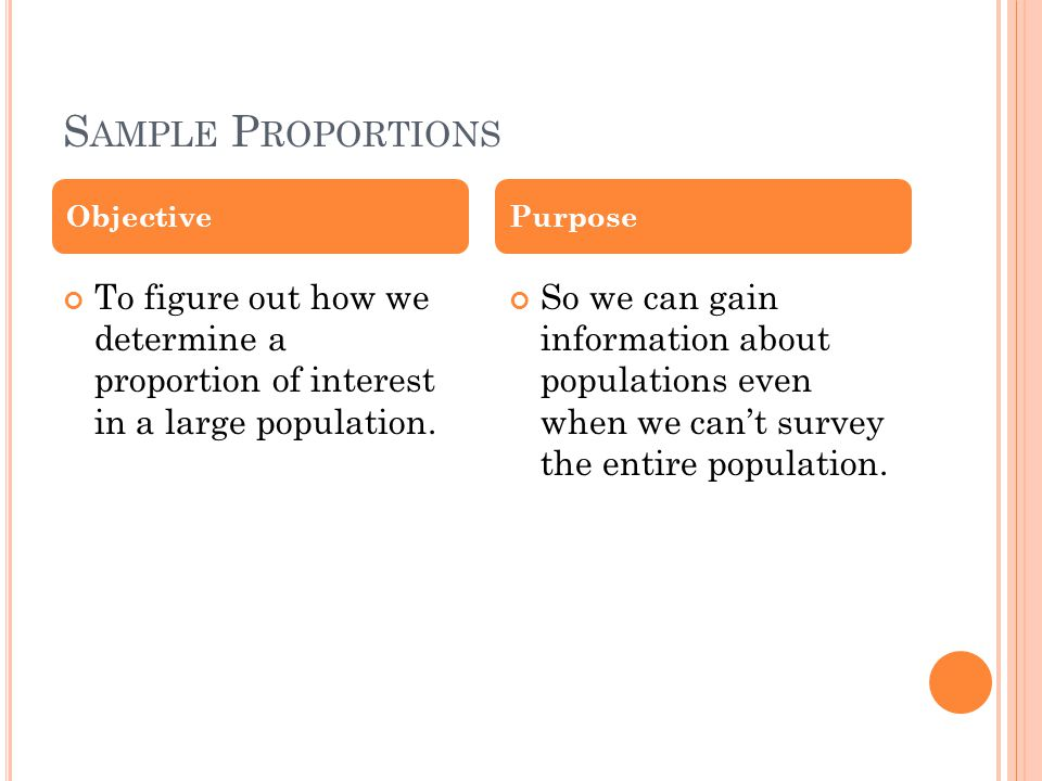 S AMPLE P ROPORTIONS To figure out how we determine a proportion of interest in a large population.