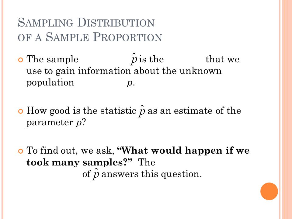 S AMPLING D ISTRIBUTION OF A S AMPLE P ROPORTION The sample proportion is the statistic that we use to gain information about the unknown population parameter p.
