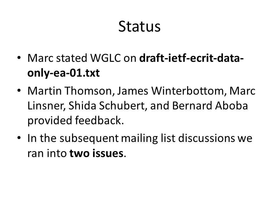 Status Marc stated WGLC on draft-ietf-ecrit-data- only-ea-01.txt Martin Thomson, James Winterbottom, Marc Linsner, Shida Schubert, and Bernard Aboba provided feedback.