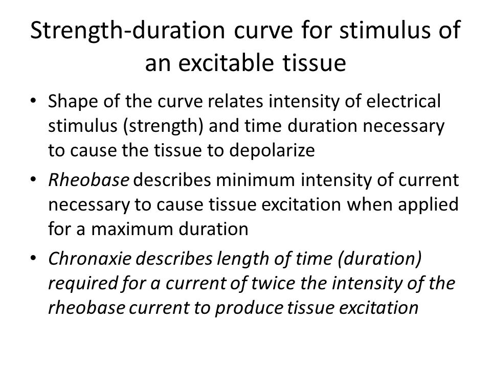 Shape of the curve relates intensity of electrical stimulus (strength) and time duration necessary to cause the tissue to depolarize Rheobase describes minimum intensity of current necessary to cause tissue excitation when applied for a maximum duration Chronaxie describes length of time (duration) required for a current of twice the intensity of the rheobase current to produce tissue excitation