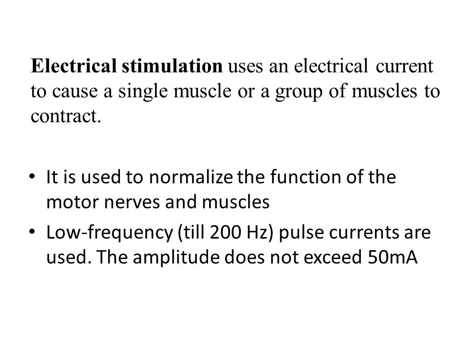 Electrical stimulation uses an electrical current to cause a single muscle or a group of muscles to contract.