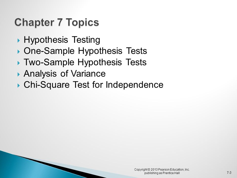  Hypothesis Testing  One-Sample Hypothesis Tests  Two-Sample Hypothesis Tests  Analysis of Variance  Chi-Square Test for Independence Copyright ©