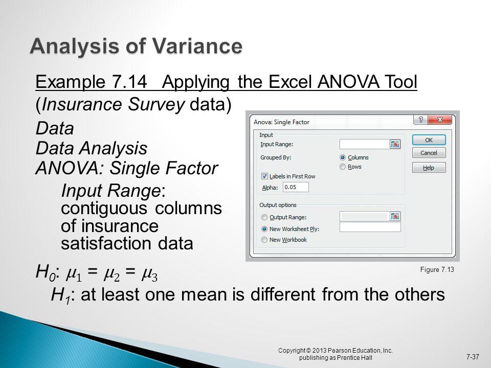 Example 7.14 Applying the Excel ANOVA Tool (Insurance Survey data) Data Data Analysis ANOVA: Single Factor Input Range: contiguous columns of insuranc