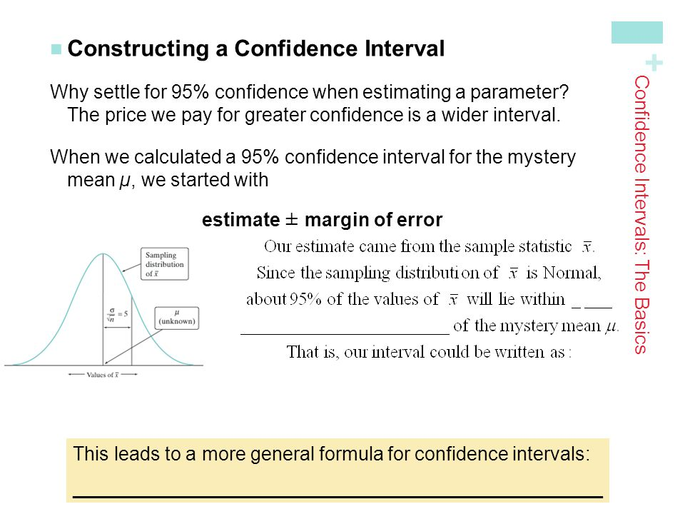+ Constructing a Confidence Interval Why settle for 95% confidence when estimating a parameter? The price we pay for greater confidence is a wider int