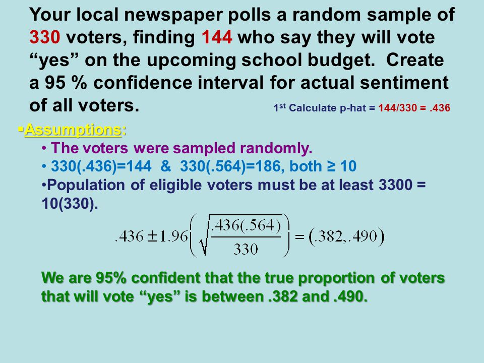  Assumptions: The voters were sampled randomly.