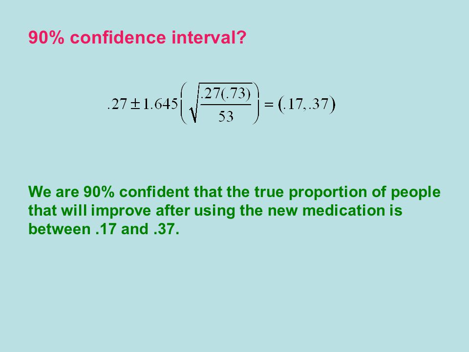 We are 90% confident that the true proportion of people that will improve after using the new medication is between.17 and.37.