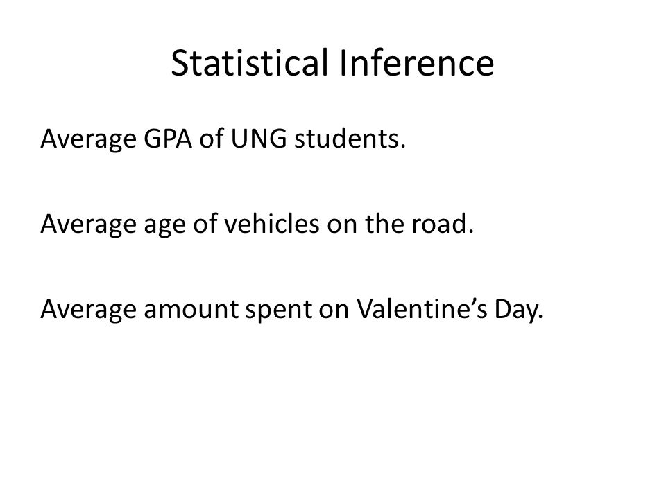 Statistical Inference Average GPA of UNG students.