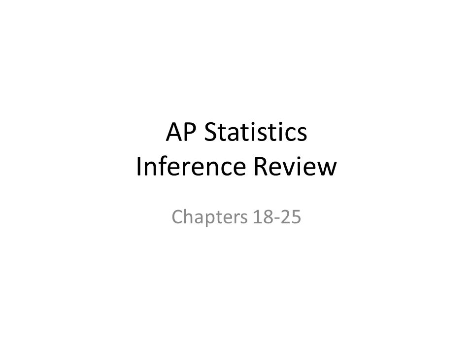 AP Statistics Inference Review Chapters 18-25