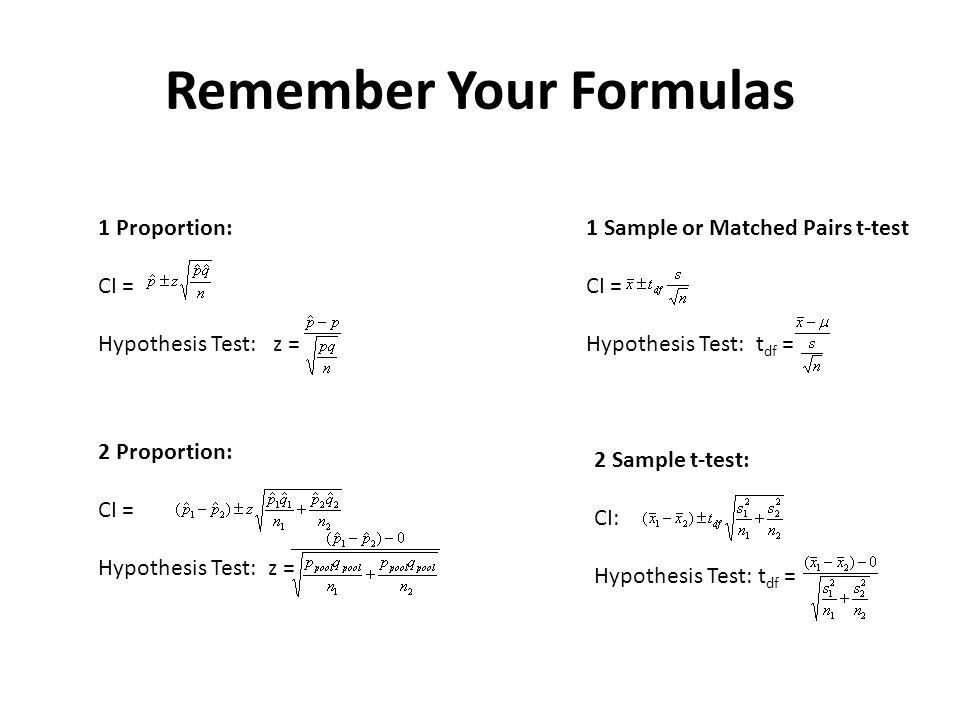 Remember Your Formulas 1 Proportion: CI = Hypothesis Test: z = 2 Proportion: CI = Hypothesis Test: z = 1 Sample or Matched Pairs t-test CI = Hypothesis Test: t df = 2 Sample t-test: CI: Hypothesis Test: t df =