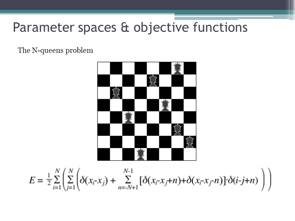 Parameter spaces & objective functions The N-queens problem