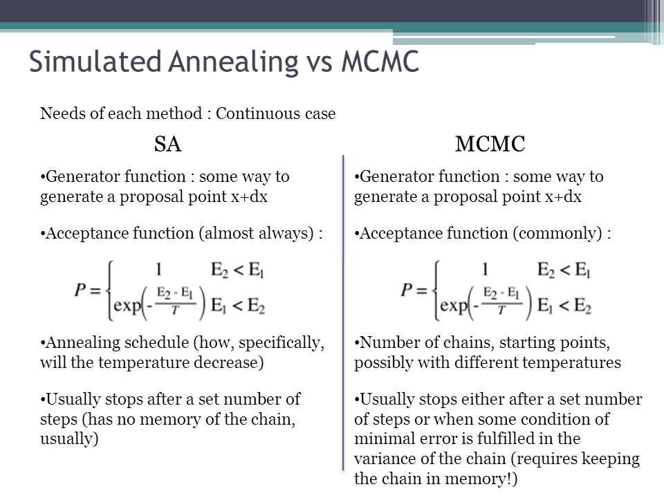 Simulated Annealing vs MCMC Needs of each method : Continuous case SAMCMC Generator function : some way to generate a proposal point x+dx Acceptance function (almost always) : Annealing schedule (how, specifically, will the temperature decrease) Usually stops after a set number of steps (has no memory of the chain, usually) Generator function : some way to generate a proposal point x+dx Acceptance function (commonly) : Number of chains, starting points, possibly with different temperatures Usually stops either after a set number of steps or when some condition of minimal error is fulfilled in the variance of the chain (requires keeping the chain in memory!)