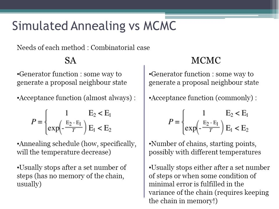 Simulated Annealing vs MCMC Needs of each method : Combinatorial case SAMCMC Generator function : some way to generate a proposal neighbour state Acceptance function (almost always) : Annealing schedule (how, specifically, will the temperature decrease) Usually stops after a set number of steps (has no memory of the chain, usually) Generator function : some way to generate a proposal neighbour state Acceptance function (commonly) : Number of chains, starting points, possibly with different temperatures Usually stops either after a set number of steps or when some condition of minimal error is fulfilled in the variance of the chain (requires keeping the chain in memory!)