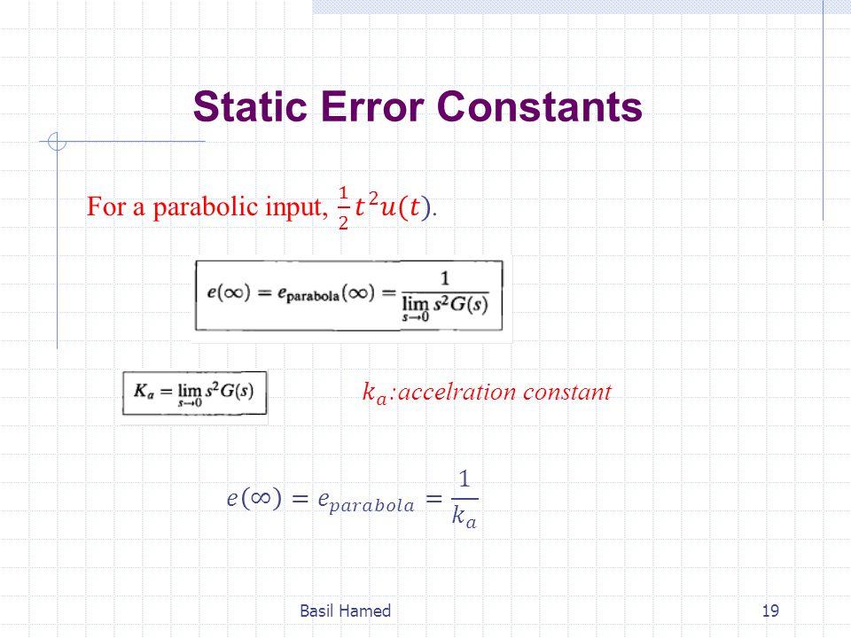 Static Error Constants Basil Hamed19