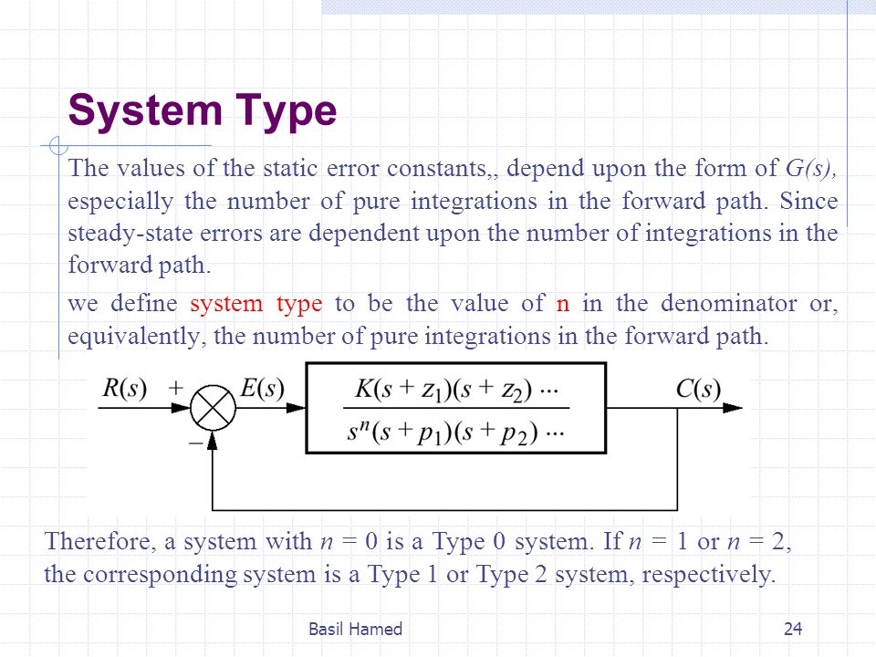 System Type The values of the static error constants,, depend upon the form of G(s), especially the number of pure integrations in the forward path. S