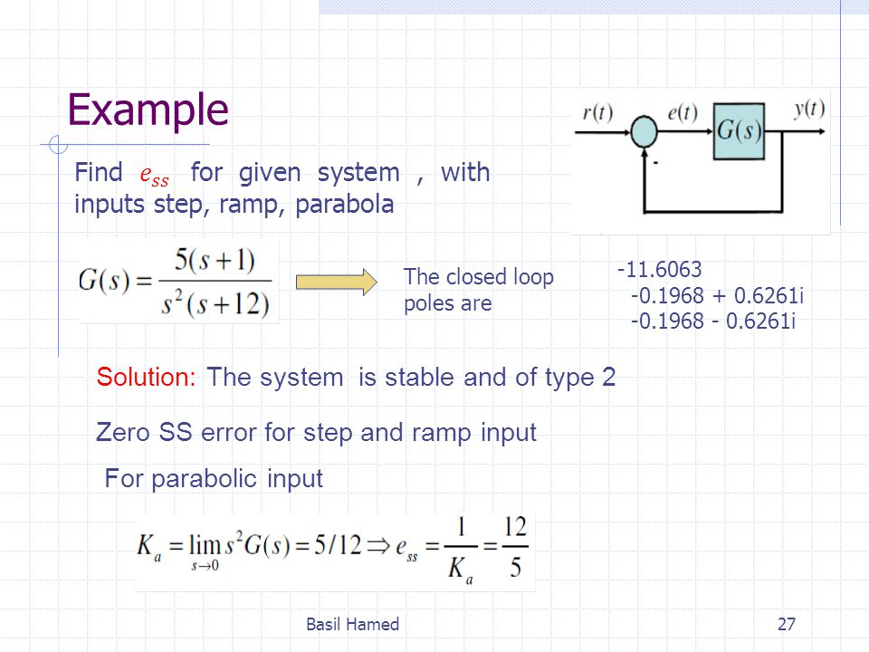 Example Basil Hamed27 Solution: The system is stable and of type 2 Zero SS error for step and ramp input For parabolic input -11.6063 -0.1968 + 0.6261