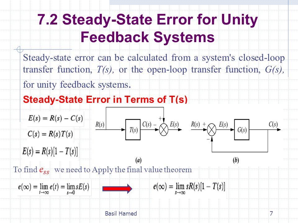 Static Error Constants For a step input, u(t), Basil Hamed18 For Ramp input, tu(t),