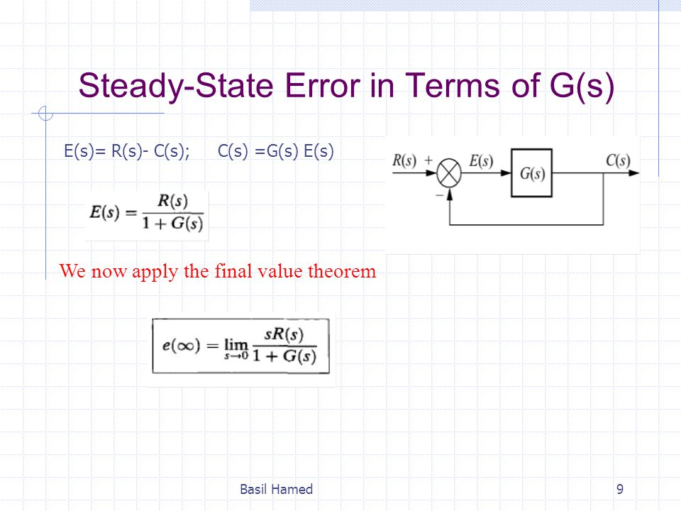Steady-State Error in Terms of G(s) Basil Hamed9 E(s)= R(s)- C(s); C(s) =G(s) E(s) We now apply the final value theorem