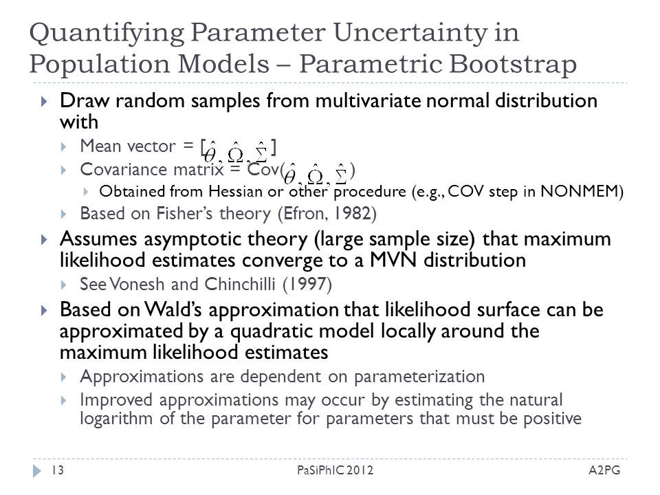Quantifying Parameter Uncertainty in Population Models – Parametric Bootstrap A2PGPaSiPhIC 201213  Draw random samples from multivariate normal distr