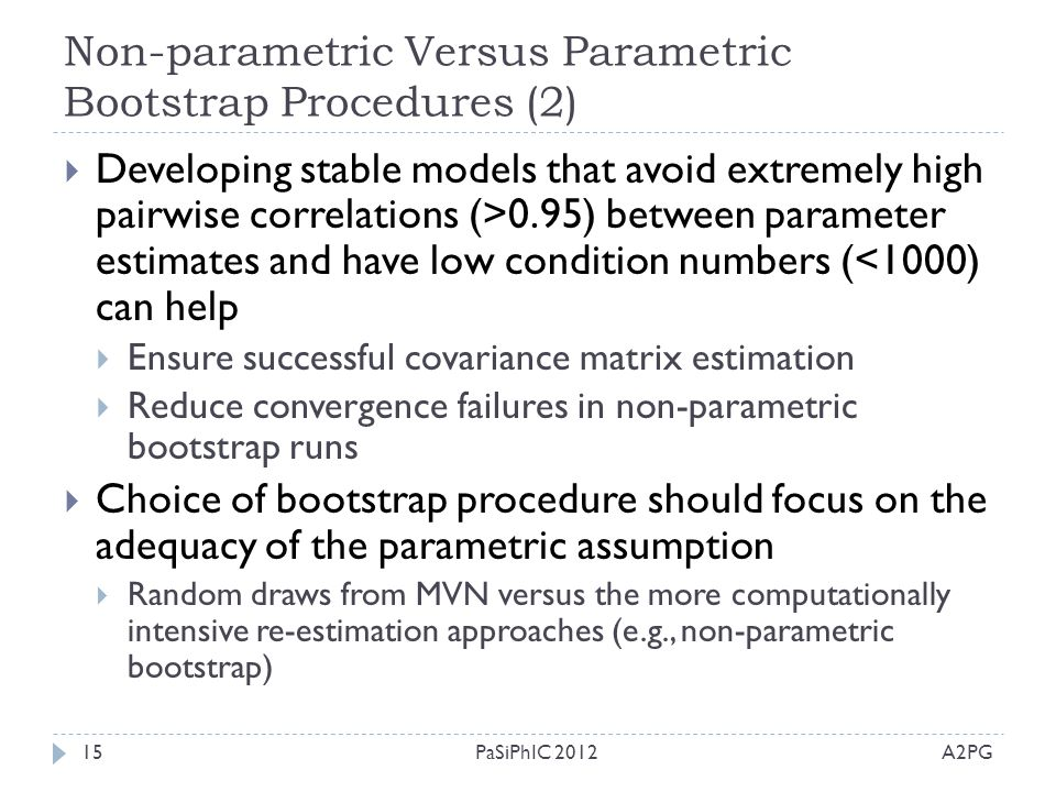 Non-parametric Versus Parametric Bootstrap Procedures (2) A2PGPaSiPhIC 201215  Developing stable models that avoid extremely high pairwise correlatio