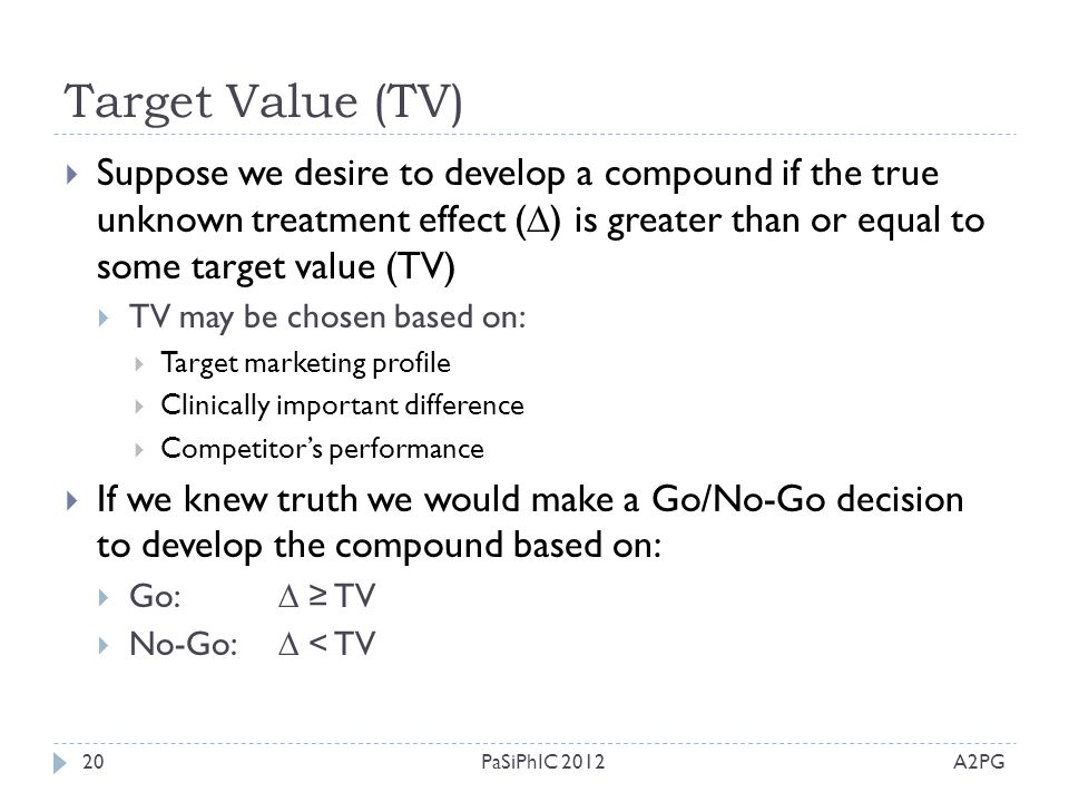 Target Value (TV) A2PGPaSiPhIC 201220  Suppose we desire to develop a compound if the true unknown treatment effect (  ) is greater than or equal to