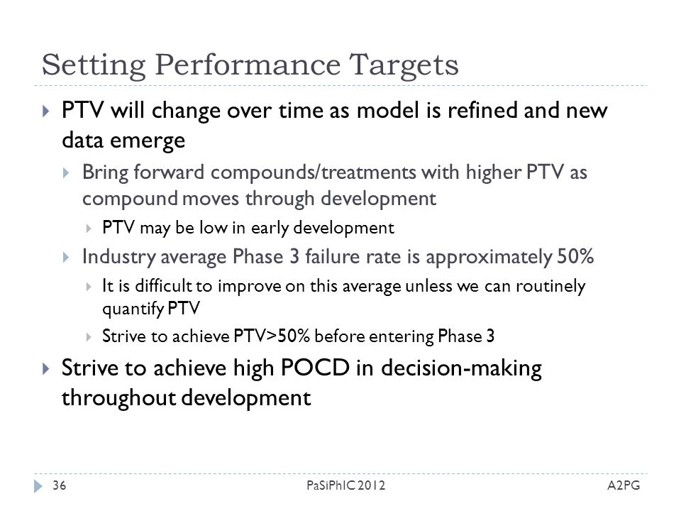 Setting Performance Targets A2PGPaSiPhIC 201236  PTV will change over time as model is refined and new data emerge  Bring forward compounds/treatmen