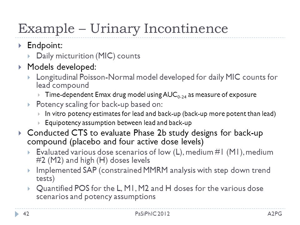 Example – Urinary Incontinence A2PGPaSiPhIC 201242  Endpoint:  Daily micturition (MIC) counts  Models developed:  Longitudinal Poisson-Normal mode