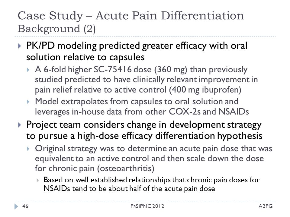 Case Study – Acute Pain Differentiation Background (2) A2PGPaSiPhIC 201246  PK/PD modeling predicted greater efficacy with oral solution relative to