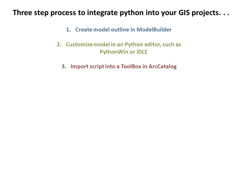Three step process to integrate python into your GIS projects...