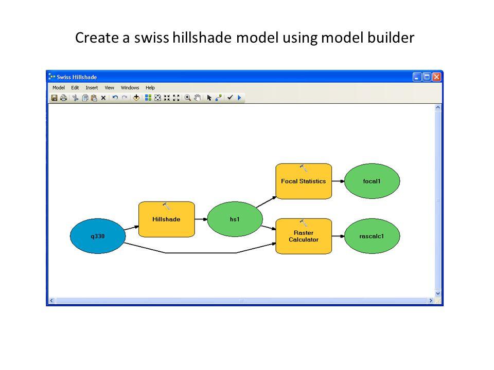 Create a swiss hillshade model using model builder