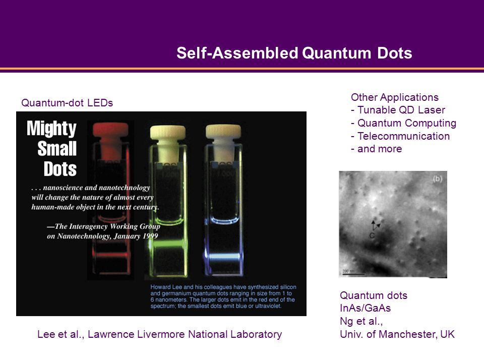Self-Assembled Quantum Dots Lee et al., Lawrence Livermore National Laboratory Quantum-dot LEDs Other Applications - Tunable QD Laser - Quantum Computing - Telecommunication - and more Quantum dots InAs/GaAs Ng et al., Univ.
