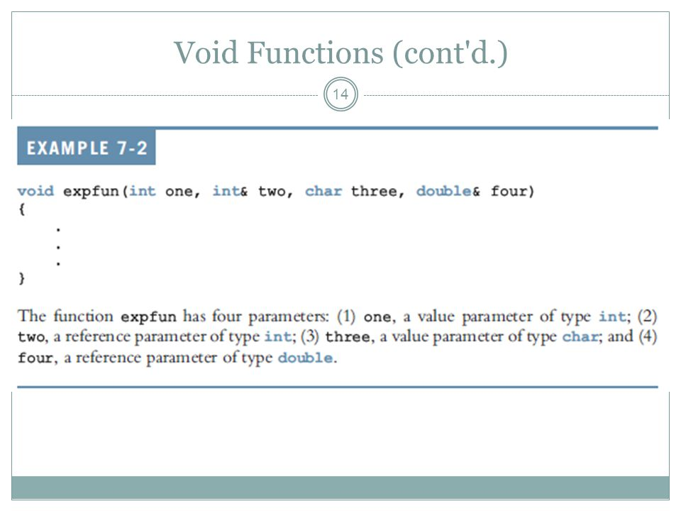 Void Functions (cont d.) 14