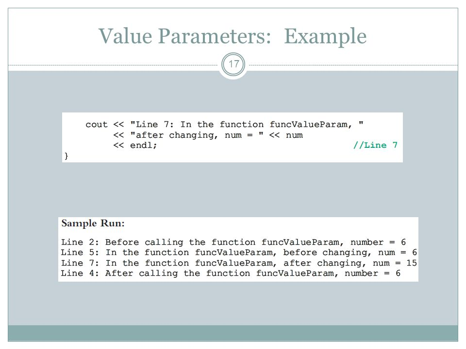 Value Parameters: Example 17