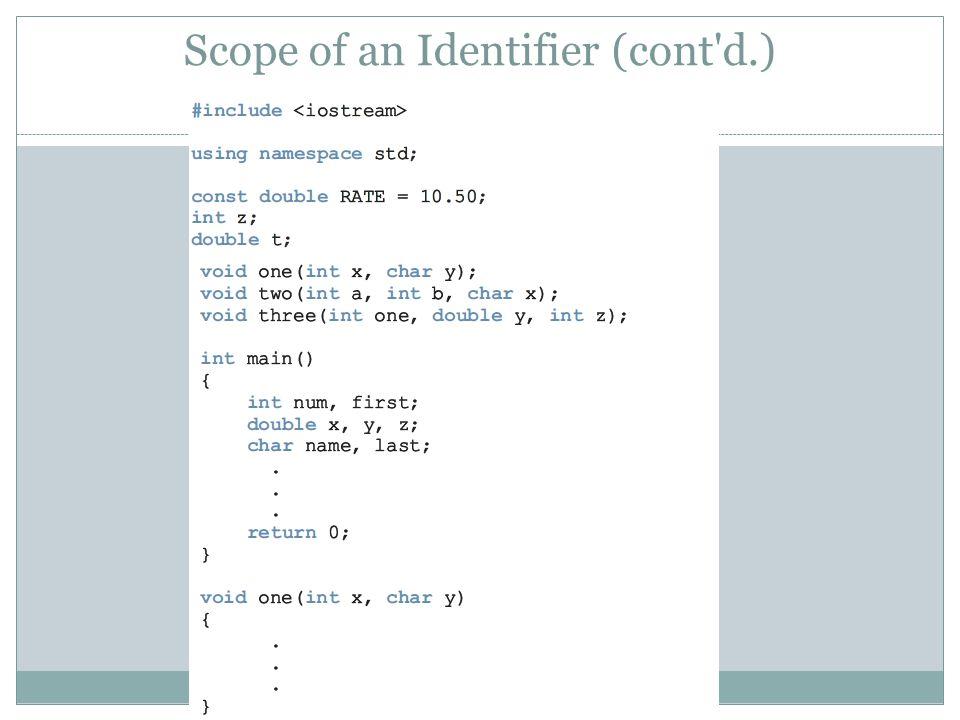Scope of an Identifier (cont d.) 45