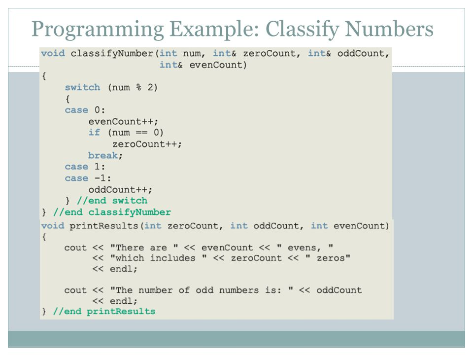 Programming Example: Classify Numbers 81