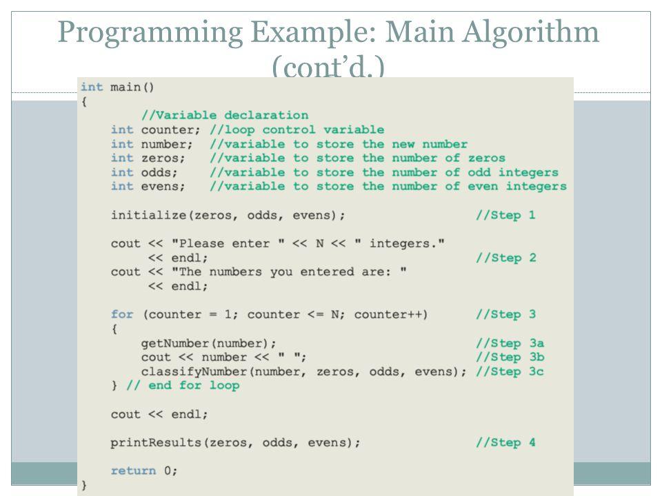 Programming Example: Main Algorithm (cont'd.) 83