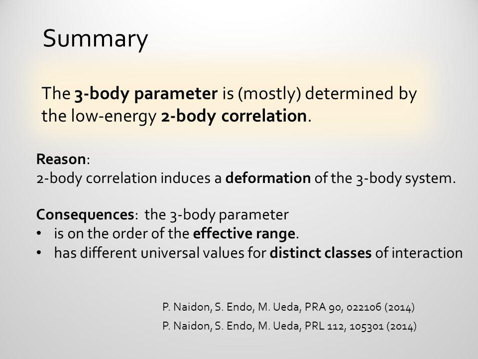 P. Naidon, S. Endo, M. Ueda, PRL 112, 105301 (2014) P. Naidon, S. Endo, M. Ueda, PRA 90, 022106 (2014) Summary The 3-body parameter is (mostly) determ