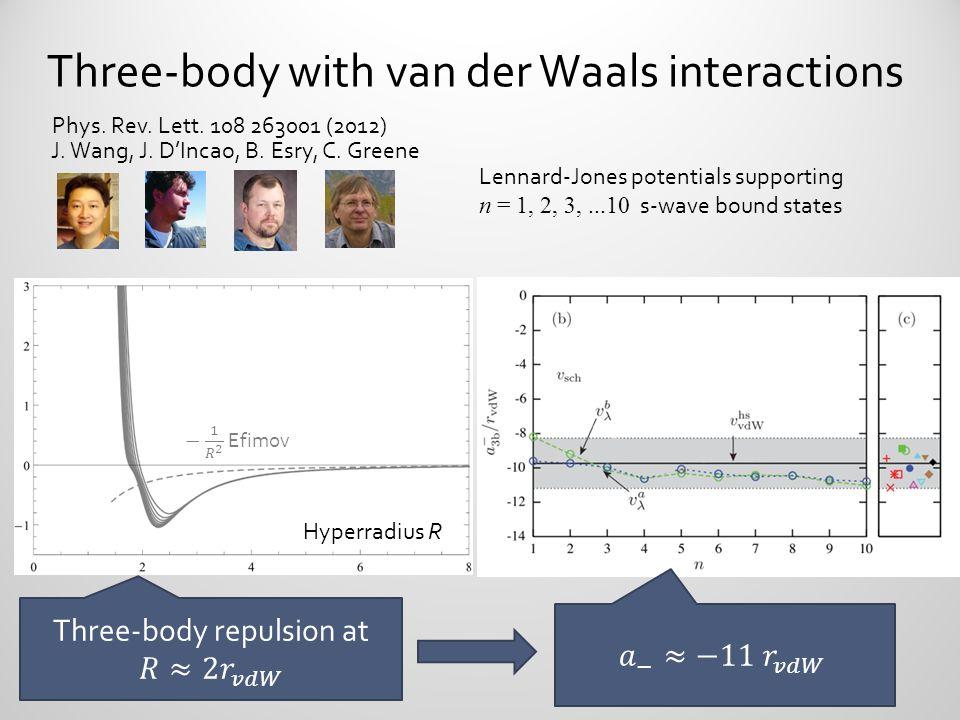 Three-body with van der Waals interactions Phys. Rev. Lett. 108 263001 (2012) J. Wang, J. D'Incao, B. Esry, C. Greene Lennard-Jones potentials support