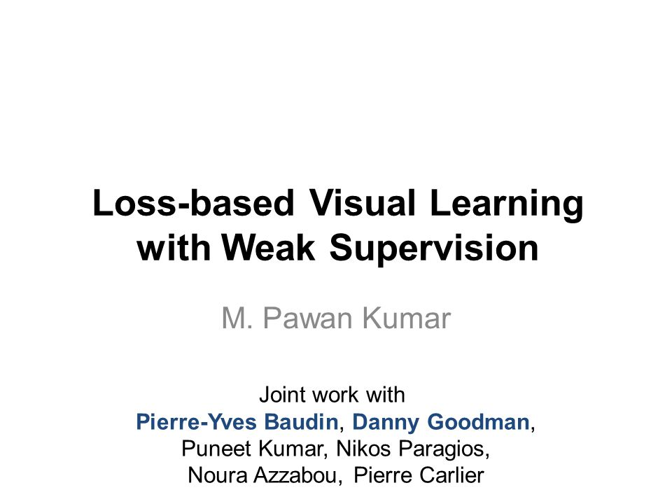 Loss-based Visual Learning with Weak Supervision M.