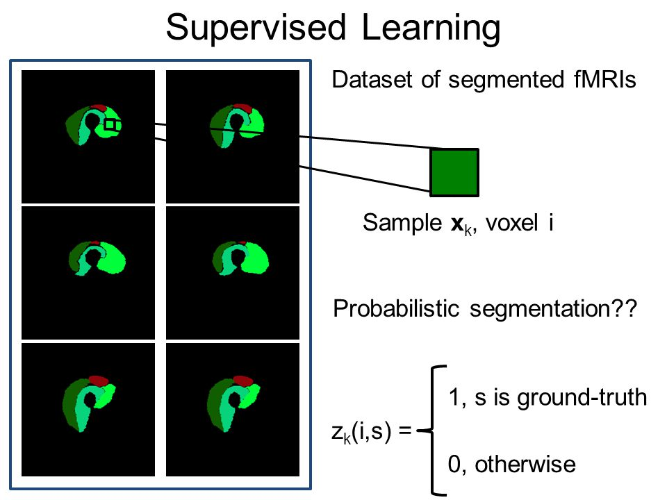 Supervised Learning Dataset of segmented fMRIs Sample x k, voxel i z k (i,s) = 1, s is ground-truth 0, otherwise Probabilistic segmentation??