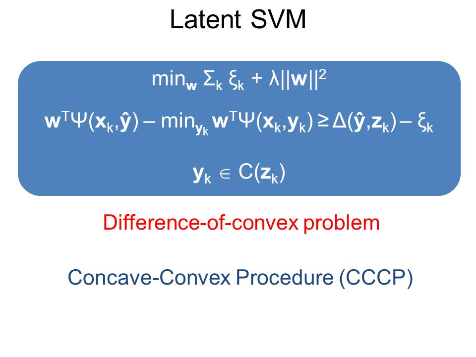 Latent SVM Difference-of-convex problem min w Σ k ξ k + λ||w|| 2 w T Ψ(x k,ŷ) – min y k w T Ψ(x k,y k ) ≥ Δ(ŷ,z k ) – ξ k y k  C(z k ) Concave-Convex Procedure (CCCP)