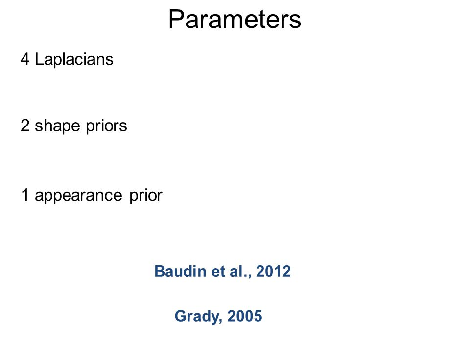 Parameters 4 Laplacians 2 shape priors 1 appearance prior Baudin et al., 2012 Grady, 2005