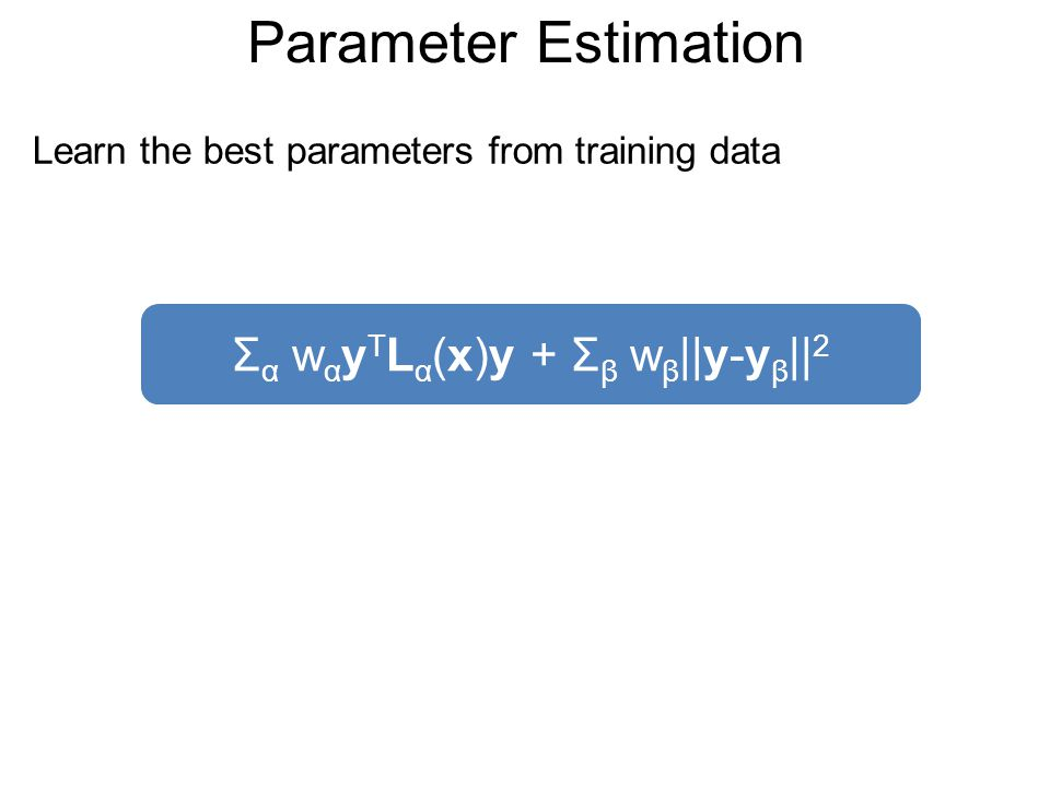 Parameter Estimation Learn the best parameters from training data Σ α w α y T L α (x)y + Σ β w β ||y-y β || 2