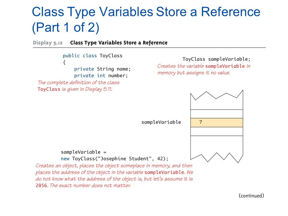 Class Type Variables Store a Reference (Part 1 of 2)