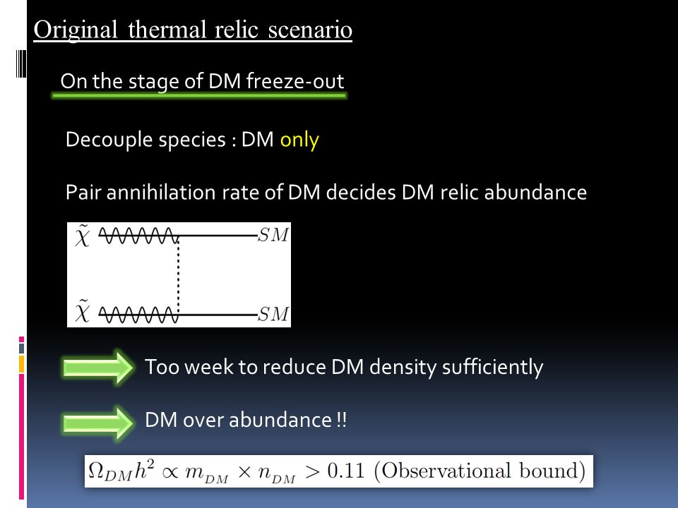 Pair annihilation rate of DM decides DM relic abundance Too week to reduce DM density sufficiently Decouple species : DM only On the stage of DM freeze-out DM over abundance !.
