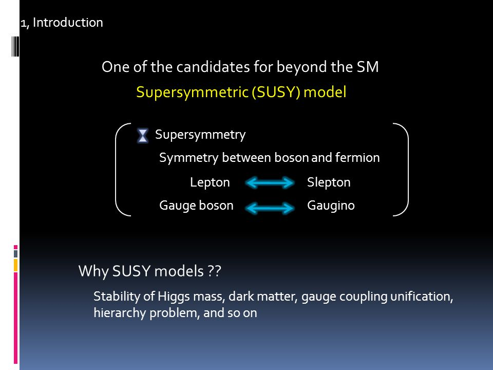 1, Introduction In Supersymmetric (SUSY) models Enhancement of LFV through the slepton mixing Detectable at future experiments Understanding the structure of slepton mixing Observational results of LFV search experiments Possible to confirm the SUSY model !