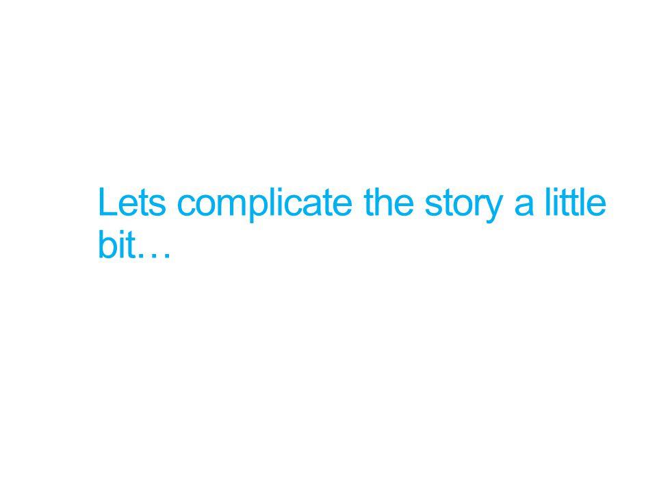 Lets complicate the story a little bit…