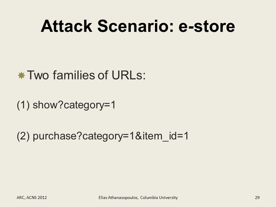 Attack Scenario: e-store  Two families of URLs: (1) show category=1 (2) purchase category=1&item_id=1 ARC, ACNS 2012Elias Athanasopoulos, Columbia University29