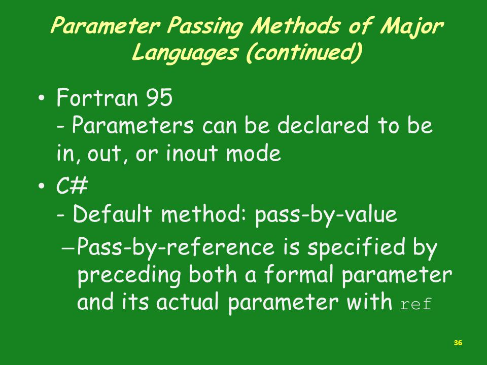 Parameter Passing Methods of Major Languages (continued) Fortran 95 - Parameters can be declared to be in, out, or inout mode C# - Default method: pas