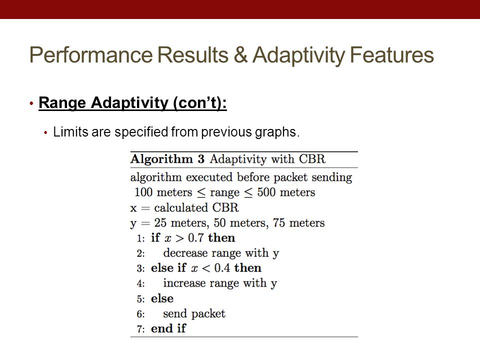 Performance Results & Adaptivity Features Range Adaptivity (con't): Limits are specified from previous graphs.