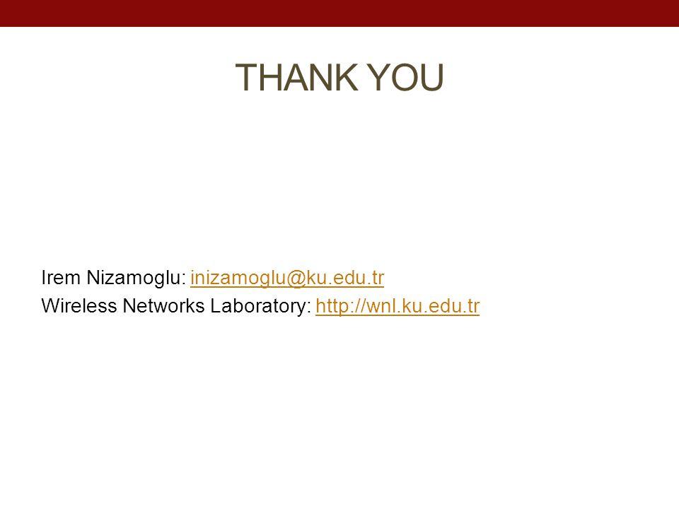 THANK YOU Irem Nizamoglu: inizamoglu@ku.edu.trinizamoglu@ku.edu.tr Wireless Networks Laboratory: http://wnl.ku.edu.trhttp://wnl.ku.edu.tr